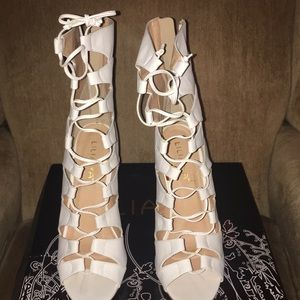 Shoes - White lace up heels